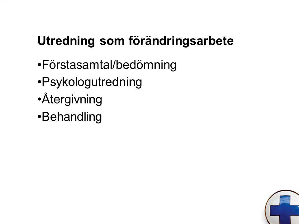 Utredning som förändringsarbete Förstasamtal/bedömning Psykologutredning Återgivning Behandling