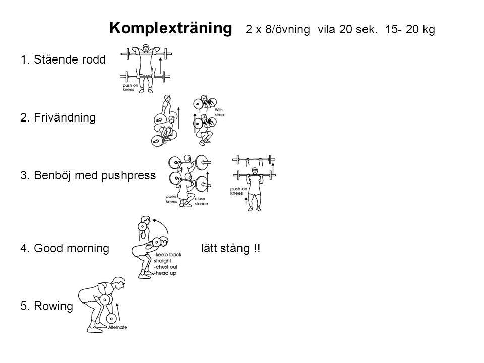 Komplexträning 2 x 8/övning vila 20 sek. 15- 20 kg 1. Stående rodd 2. Frivändning 3. Benböj med pushpress 4. Good morning lätt stång !! 5. Rowing