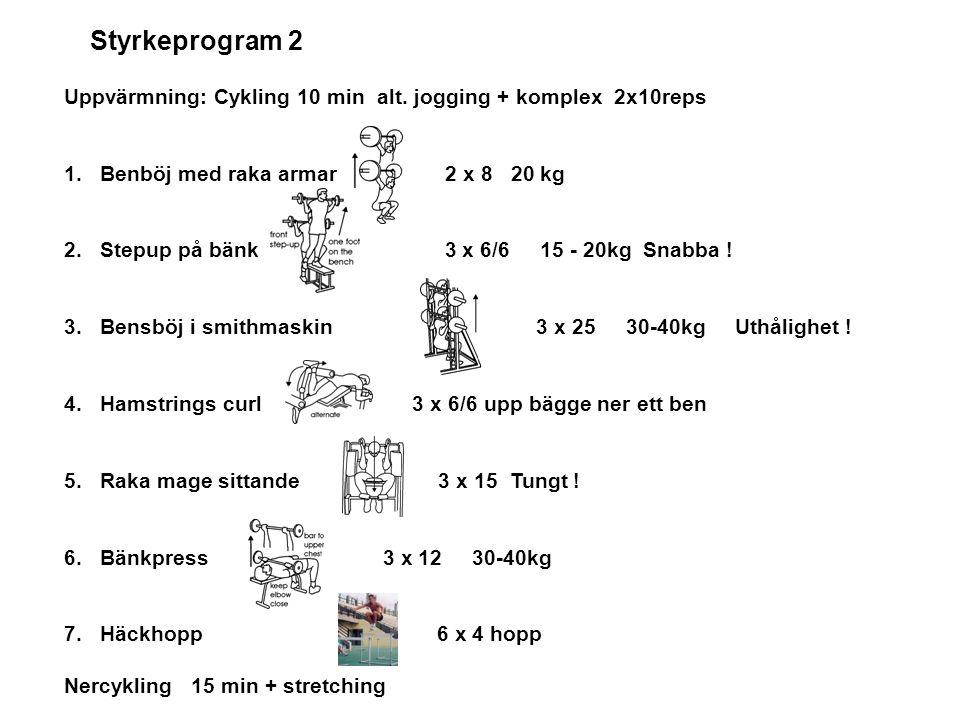 Styrkeprogram 2 Uppvärmning: Cykling 10 min alt. jogging + komplex 2x10reps 1.Benböj med raka armar 2 x 8 20 kg 2.Stepup på bänk 3 x 6/6 15 - 20kg Sna