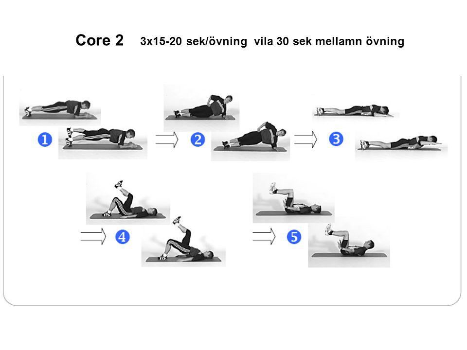 Core 2 3x15-20 sek/övning vila 30 sek mellamn övning
