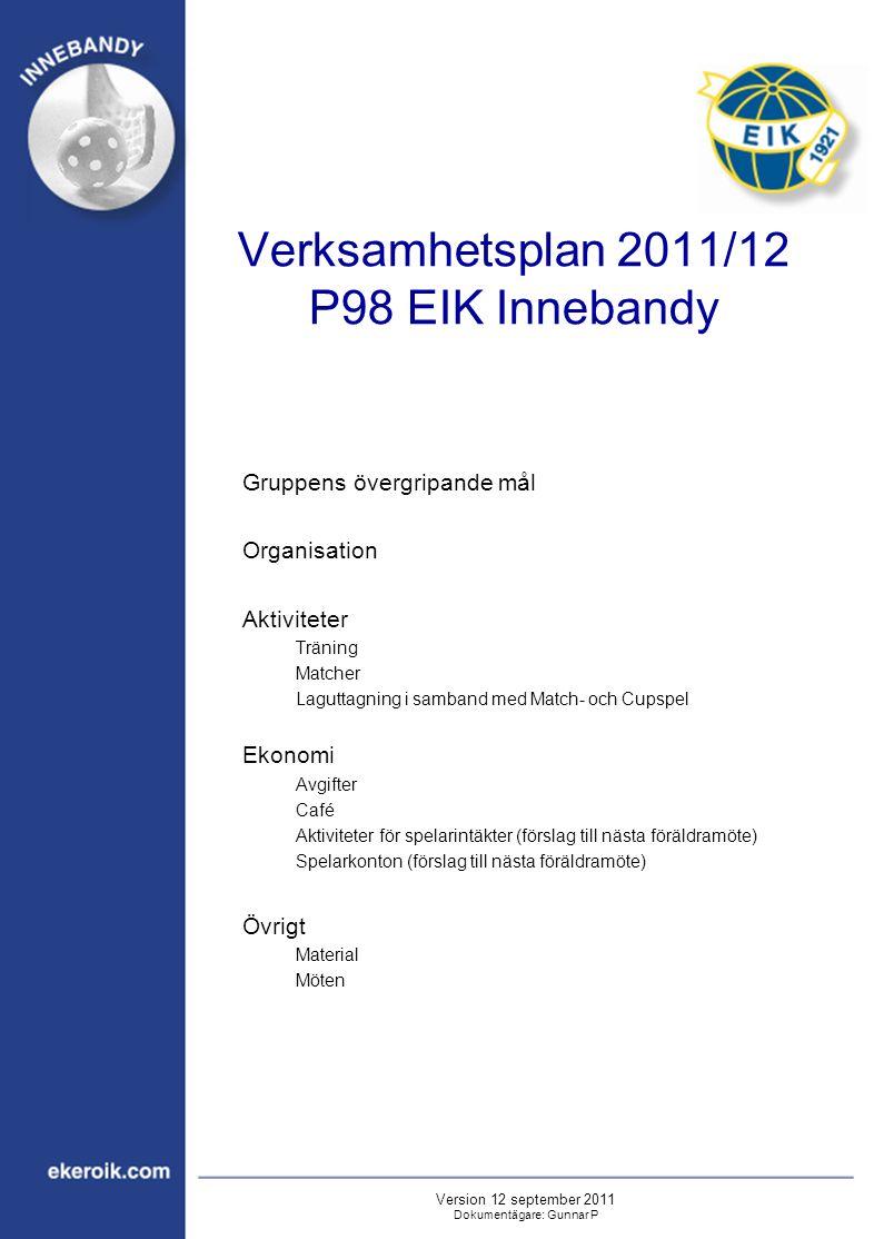 Verksamhetsplan 2011/12 P98 EIK Innebandy Gruppens övergripande mål Organisation Aktiviteter Träning Matcher Laguttagning i samband med Match- och Cup