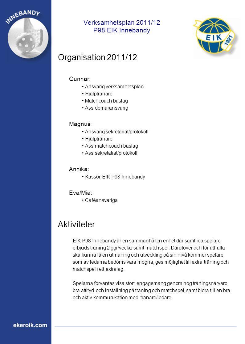 Verksamhetsplan 2011/12 P98 EIK Innebandy Organisation 2011/12 Gunnar: Ansvarig verksamhetsplan Hjälptränare Matchcoach baslag Ass domaransvarig Magnu