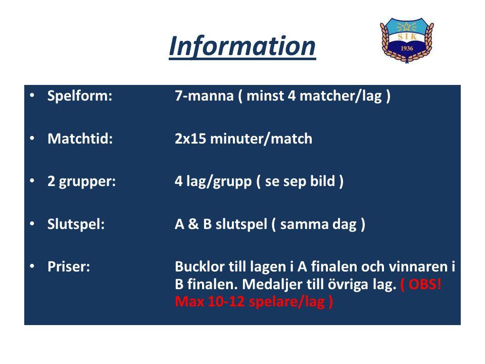 Information Spelform:7-manna ( minst 4 matcher/lag ) Matchtid:2x15 minuter/match 2 grupper:4 lag/grupp ( se sep bild ) Slutspel:A & B slutspel ( samma dag ) Priser: Bucklor till lagen i A finalen och vinnaren i B finalen.