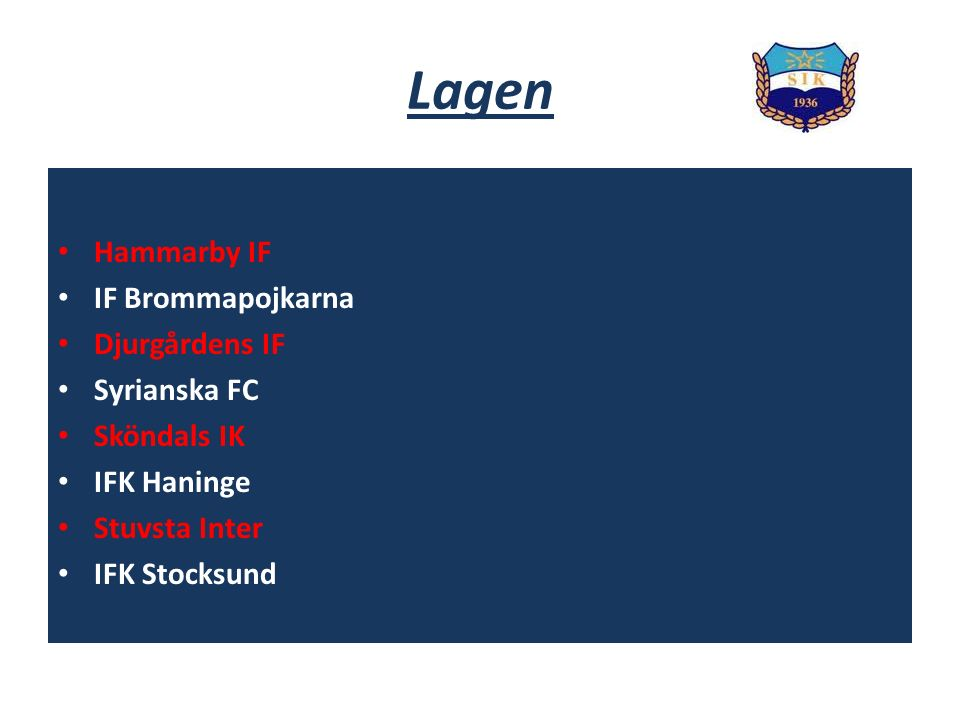 Lagen Hammarby IF IF Brommapojkarna Djurgårdens IF Syrianska FC Sköndals IK IFK Haninge Stuvsta Inter IFK Stocksund