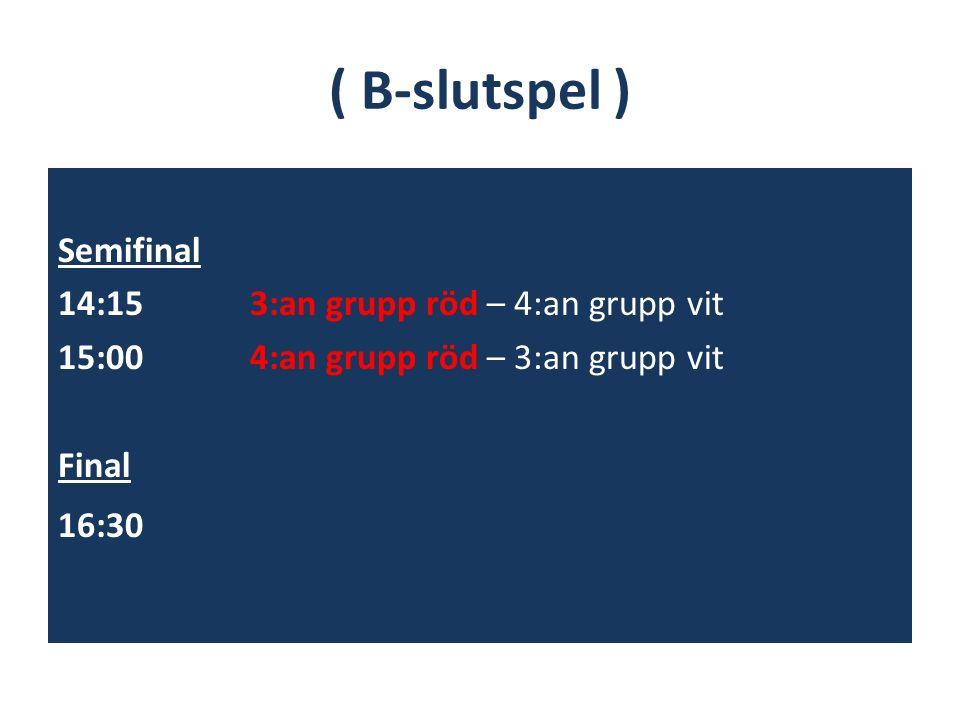 ( B-slutspel ) Semifinal 14:15 3:an grupp röd – 4:an grupp vit 15:004:an grupp röd – 3:an grupp vit Final 16:30