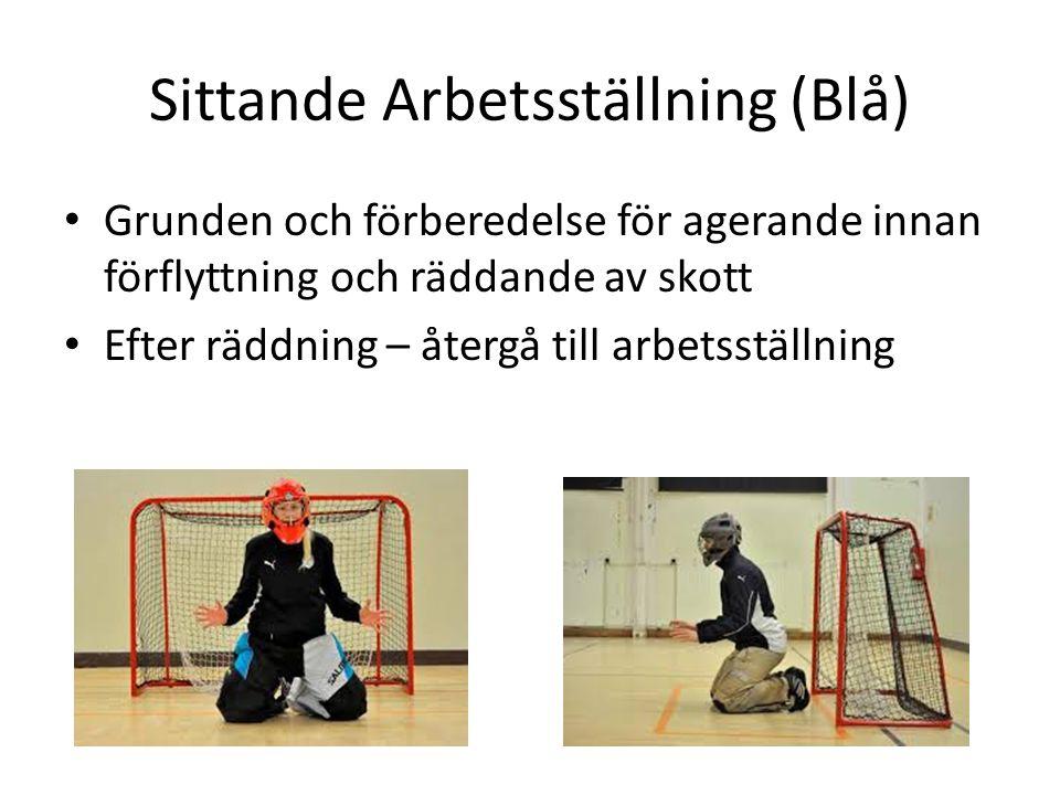 Sittande Arbetsställning (Blå) Grunden och förberedelse för agerande innan förflyttning och räddande av skott Efter räddning – återgå till arbetsställ