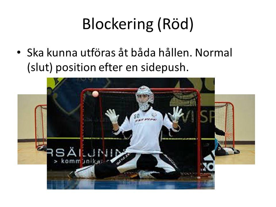 Blockering (Röd) Ska kunna utföras åt båda hållen. Normal (slut) position efter en sidepush.