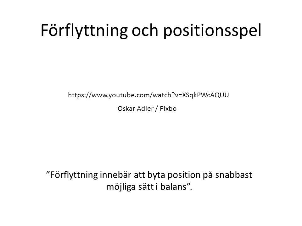 Förflyttning och positionsspel https://www.youtube.com/watch?v=XSqkPWcAQUU Oskar Adler / Pixbo Förflyttning innebär att byta position på snabbast möjliga sätt i balans .