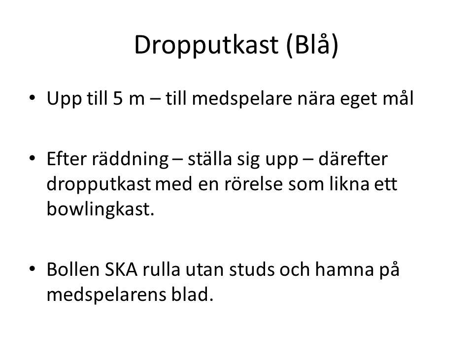 Dropputkast (Blå) Upp till 5 m – till medspelare nära eget mål Efter räddning – ställa sig upp – därefter dropputkast med en rörelse som likna ett bowlingkast.