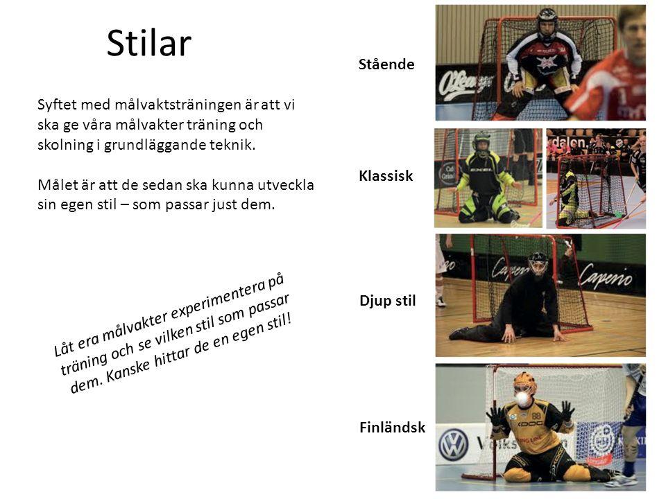 Stående Finländsk Djup stil Klassisk Stilar Syftet med målvaktsträningen är att vi ska ge våra målvakter träning och skolning i grundläggande teknik.