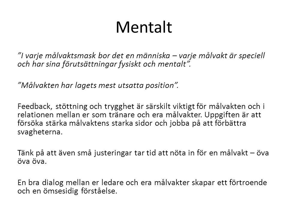 """Mentalt """"I varje målvaktsmask bor det en människa – varje målvakt är speciell och har sina förutsättningar fysiskt och mentalt"""". """"Målvakten har lagets"""