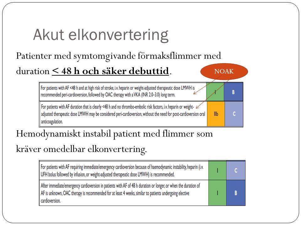 Akut elkonvertering Patienter med symtomgivande förmaksflimmer med duration < 48 h och säker debuttid.