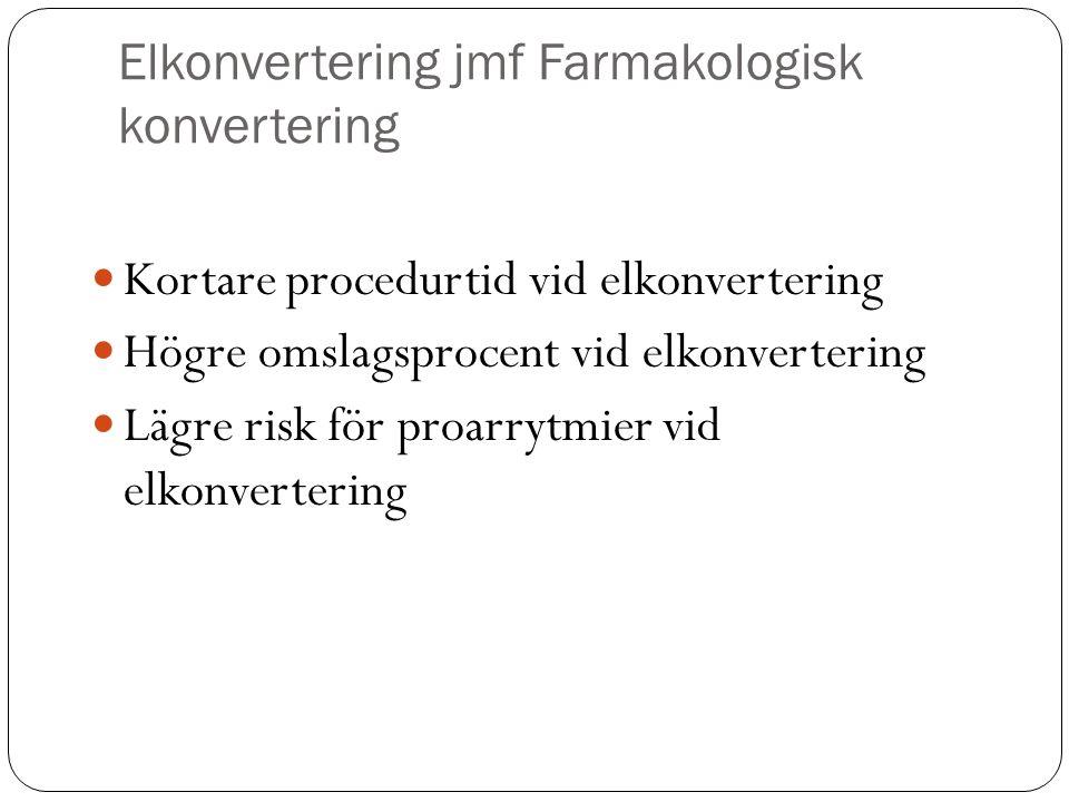 Elkonvertering jmf Farmakologisk konvertering Kortare procedurtid vid elkonvertering Högre omslagsprocent vid elkonvertering Lägre risk för proarrytmier vid elkonvertering