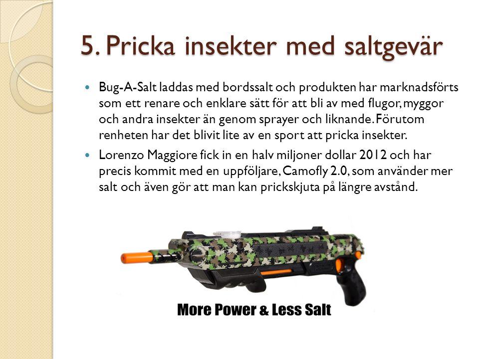 5. Pricka insekter med saltgevär Bug-A-Salt laddas med bordssalt och produkten har marknadsförts som ett renare och enklare sätt för att bli av med fl