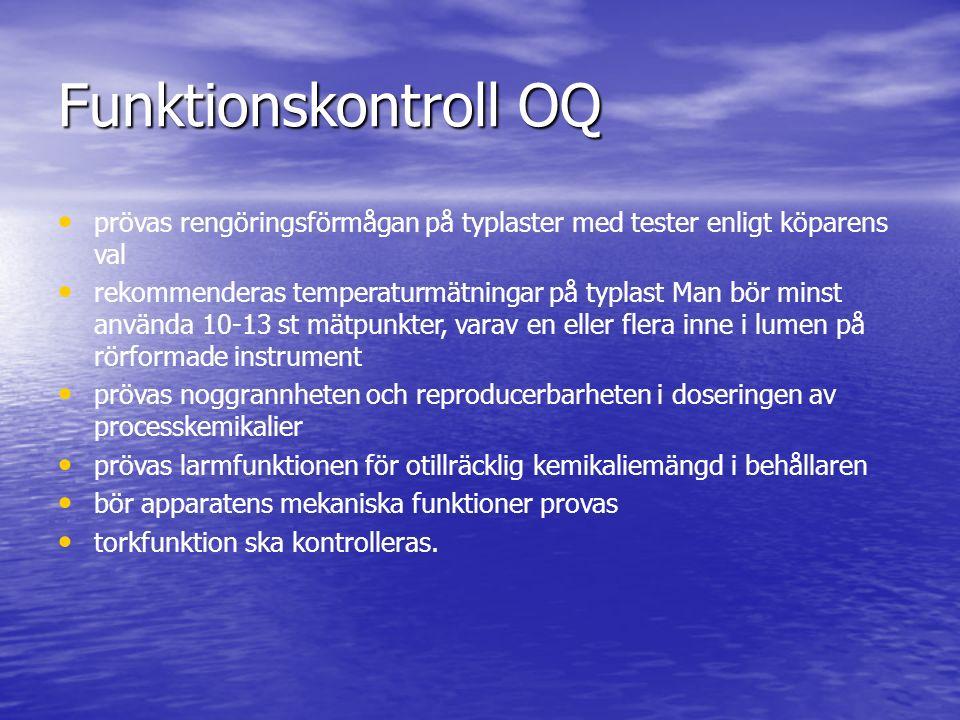 Funktionskontroll OQ prövas rengöringsförmågan på typlaster med tester enligt köparens val rekommenderas temperaturmätningar på typlast Man bör minst
