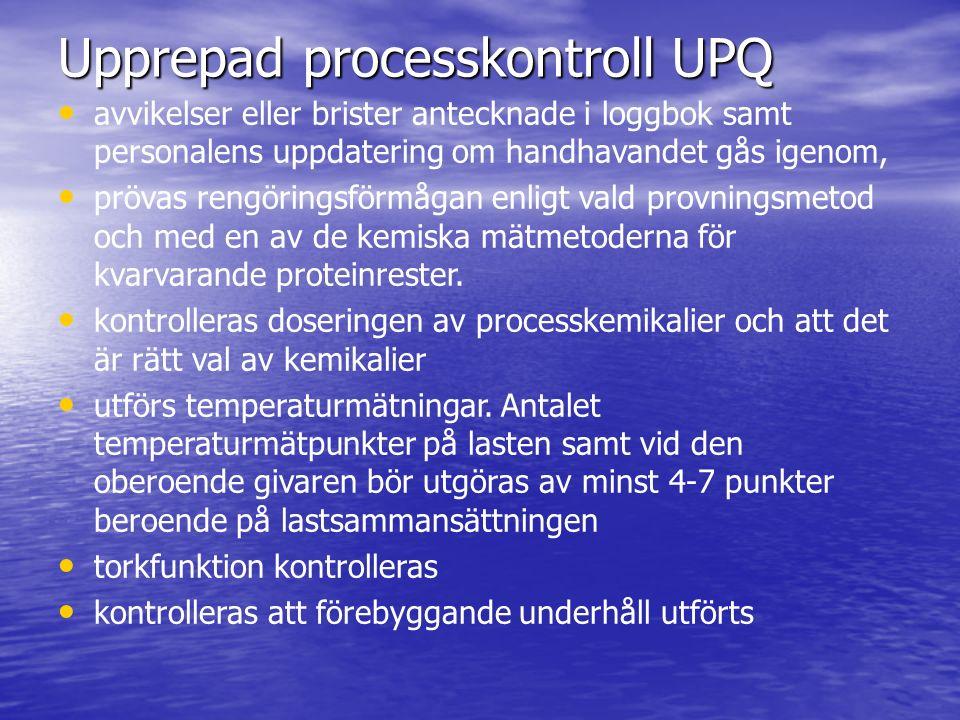 Upprepad processkontroll UPQ avvikelser eller brister antecknade i loggbok samt personalens uppdatering om handhavandet gås igenom, prövas rengöring
