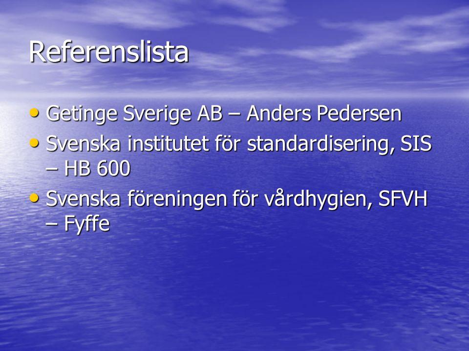 Referenslista Getinge Sverige AB – Anders Pedersen Getinge Sverige AB – Anders Pedersen Svenska institutet för standardisering, SIS – HB 600 Svenska i