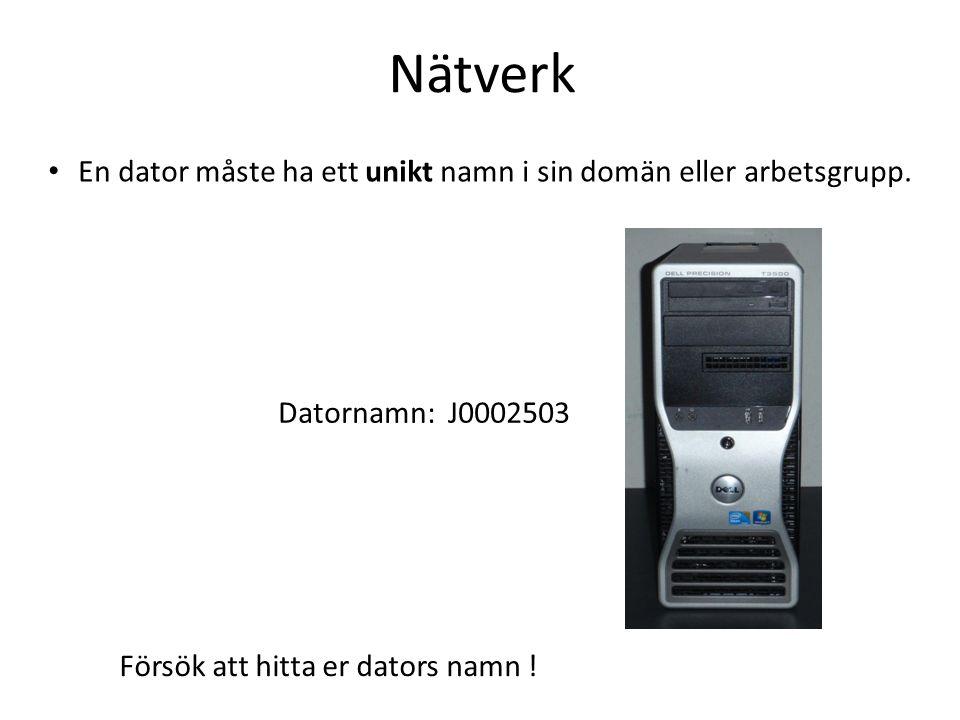 Nätverk En dator måste ha ett unikt namn i sin domän eller arbetsgrupp.