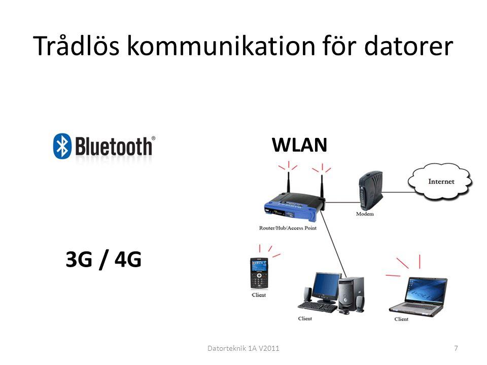 Trådlös kommunikation för datorer Datorteknik 1A V20117 WLAN 3G / 4G