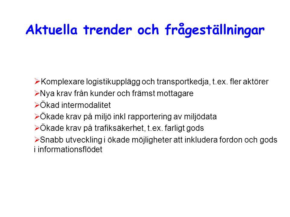 Aktuella trender och frågeställningar  Komplexare logistikupplägg och transportkedja, t.ex.