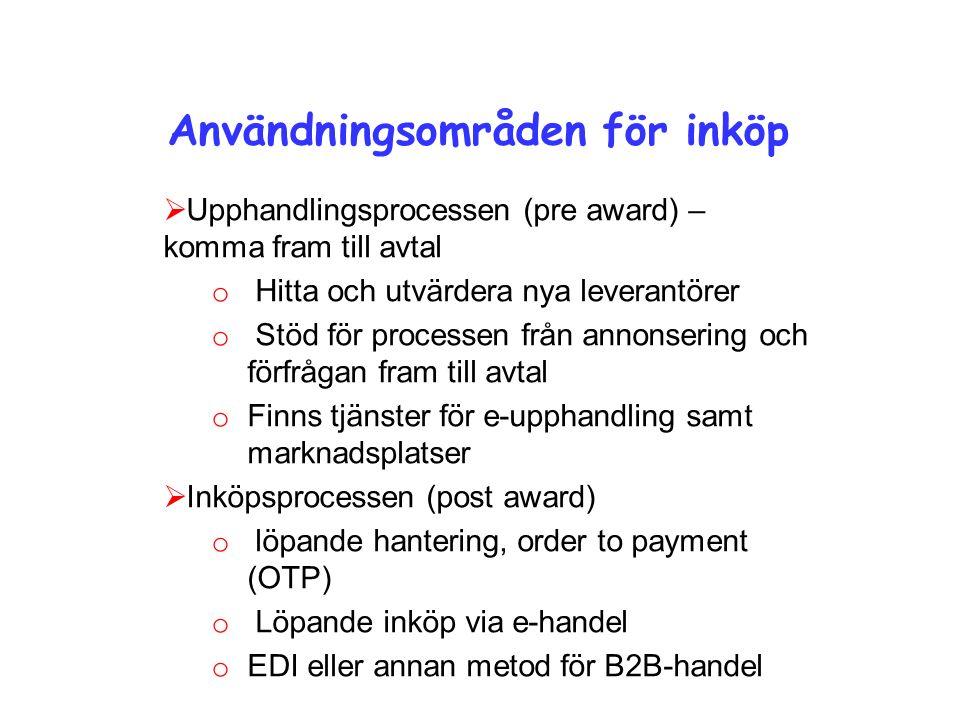 Användningsområden för inköp  Upphandlingsprocessen (pre award) – komma fram till avtal o Hitta och utvärdera nya leverantörer o Stöd för processen från annonsering och förfrågan fram till avtal o Finns tjänster för e-upphandling samt marknadsplatser  Inköpsprocessen (post award) o löpande hantering, order to payment (OTP) o Löpande inköp via e-handel o EDI eller annan metod för B2B-handel