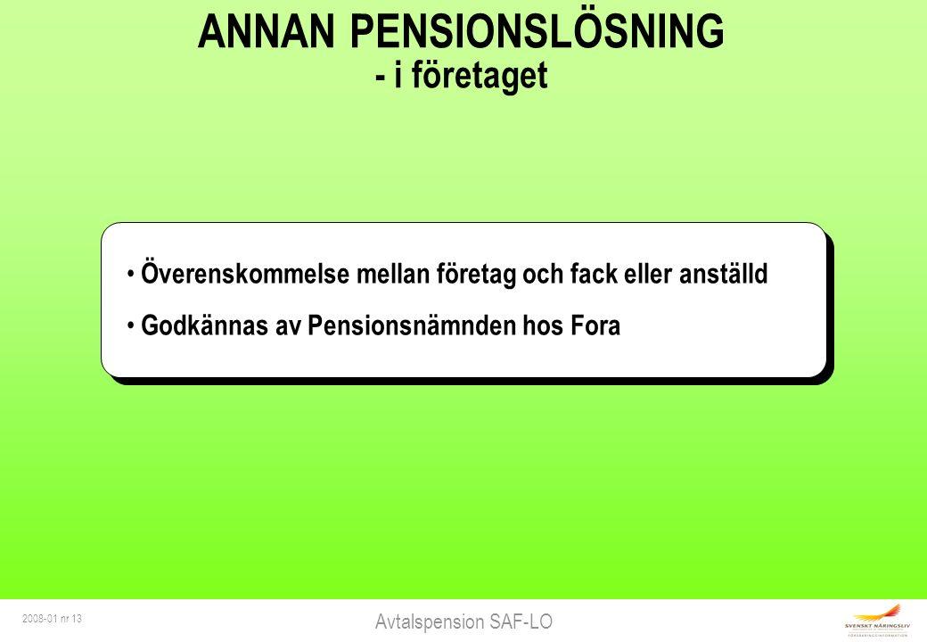 Avtalspension SAF-LO 2008-01 nr 13 ANNAN PENSIONSLÖSNING - i företaget Överenskommelse mellan företag och fack eller anställd Godkännas av Pensionsnämnden hos Fora