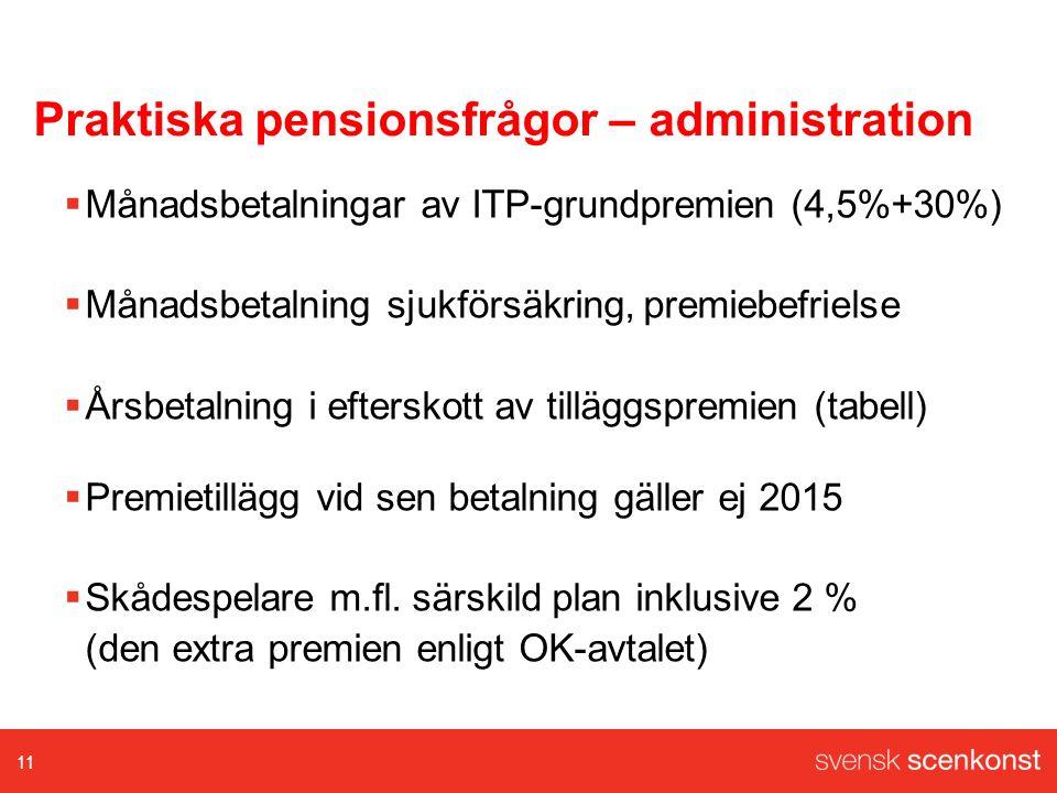 Praktiska pensionsfrågor – administration  Månadsbetalningar av ITP-grundpremien (4,5%+30%)  Månadsbetalning sjukförsäkring, premiebefrielse  Årsbetalning i efterskott av tilläggspremien (tabell)  Premietillägg vid sen betalning gäller ej 2015  Skådespelare m.fl.