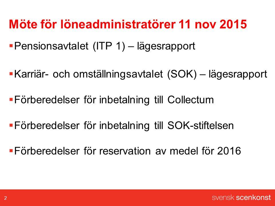 Möte för löneadministratörer 11 nov 2015  Pensionsavtalet (ITP 1) – lägesrapport  Karriär- och omställningsavtalet (SOK) – lägesrapport  Förberedel