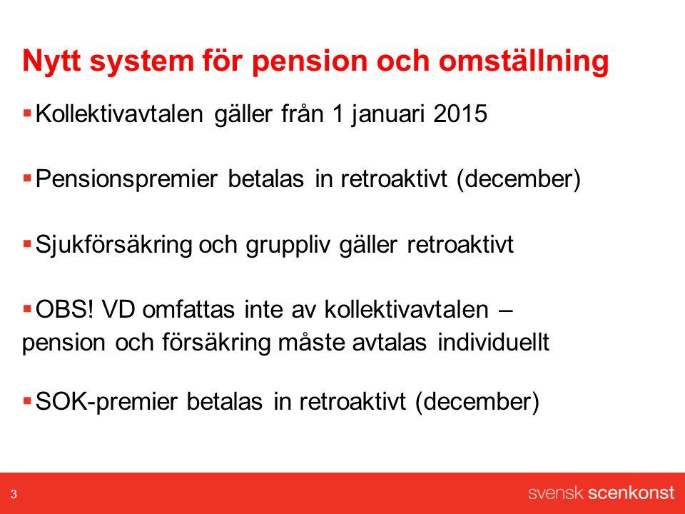 Nytt system för pension och omställning  Kollektivavtalen gäller från 1 januari 2015  Pensionspremier betalas in retroaktivt (december)  Sjukförsäkring och gruppliv gäller retroaktivt  OBS.