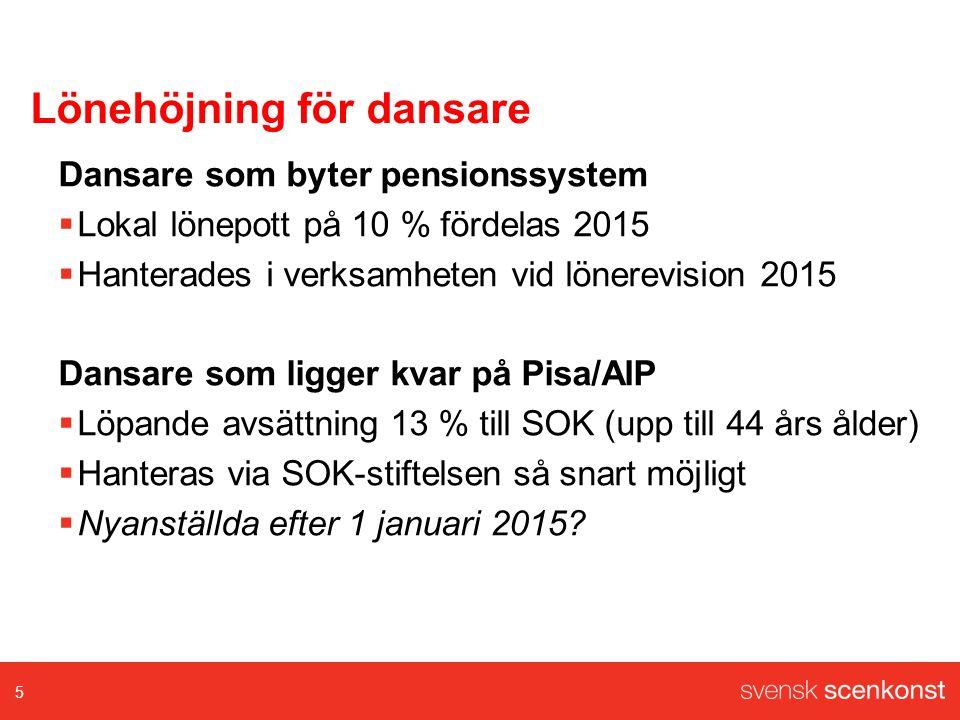 Lönehöjning för dansare Dansare som byter pensionssystem  Lokal lönepott på 10 % fördelas 2015  Hanterades i verksamheten vid lönerevision 2015 Dansare som ligger kvar på Pisa/AIP  Löpande avsättning 13 % till SOK (upp till 44 års ålder)  Hanteras via SOK-stiftelsen så snart möjligt  Nyanställda efter 1 januari 2015.