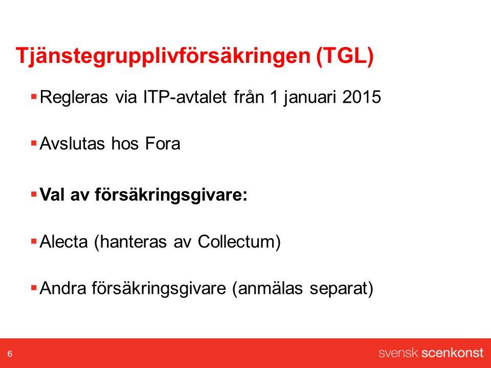 Tjänstegrupplivförsäkringen (TGL)  Regleras via ITP-avtalet från 1 januari 2015  Avslutas hos Fora  Val av försäkringsgivare:  Alecta (hanteras av Collectum)  Andra försäkringsgivare (anmälas separat) 6