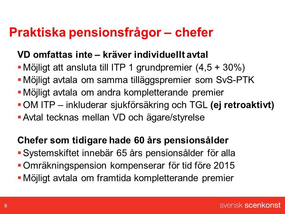 Praktiska pensionsfrågor – chefer VD omfattas inte – kräver individuellt avtal  Möjligt att ansluta till ITP 1 grundpremier (4,5 + 30%)  Möjligt avtala om samma tilläggspremier som SvS-PTK  Möjligt avtala om andra kompletterande premier  OM ITP – inkluderar sjukförsäkring och TGL (ej retroaktivt)  Avtal tecknas mellan VD och ägare/styrelse Chefer som tidigare hade 60 års pensionsålder  Systemskiftet innebär 65 års pensionsålder för alla  Omräkningspension kompenserar för tid före 2015  Möjligt avtala om framtida kompletterande premier 8