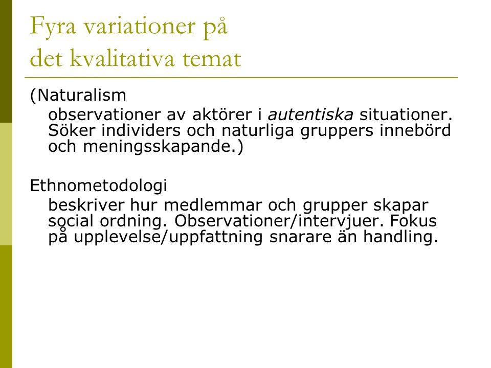 Fyra variationer på det kvalitativa temat (Naturalism observationer av aktörer i autentiska situationer.