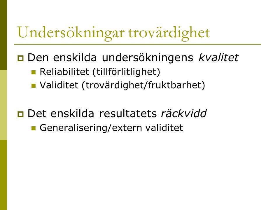 Undersökningar trovärdighet  Den enskilda undersökningens kvalitet Reliabilitet (tillförlitlighet) Validitet (trovärdighet/fruktbarhet)  Det enskilda resultatets räckvidd Generalisering/extern validitet