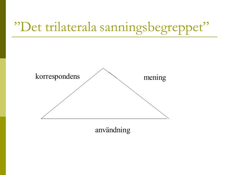 Det trilaterala sanningsbegreppet korrespondens mening användning