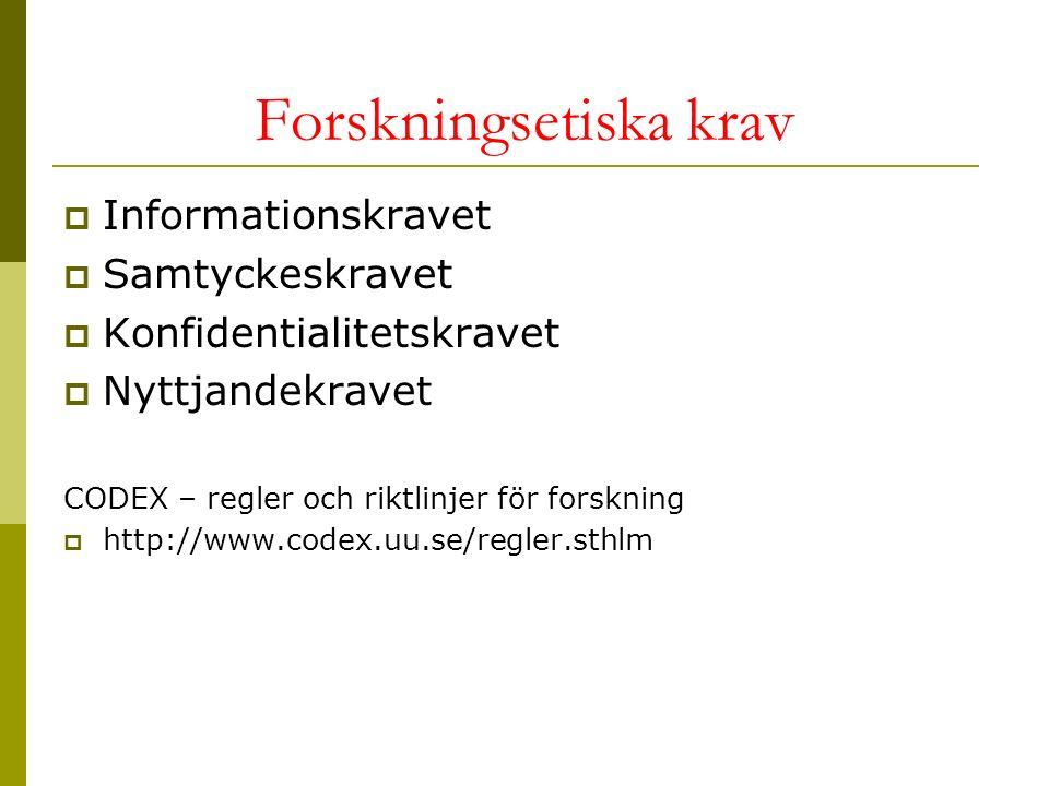 Forskningsetiska krav  Informationskravet  Samtyckeskravet  Konfidentialitetskravet  Nyttjandekravet CODEX – regler och riktlinjer för forskning  http://www.codex.uu.se/regler.sthlm