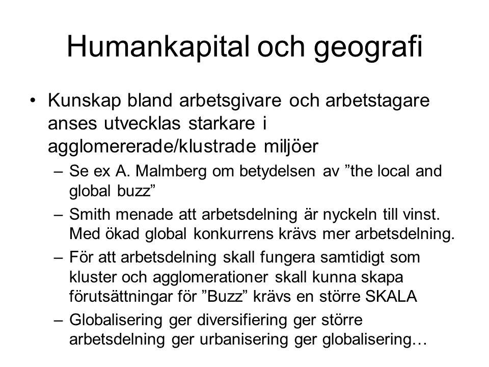 Humankapital och geografi Kunskap bland arbetsgivare och arbetstagare anses utvecklas starkare i agglomererade/klustrade miljöer –Se ex A. Malmberg om