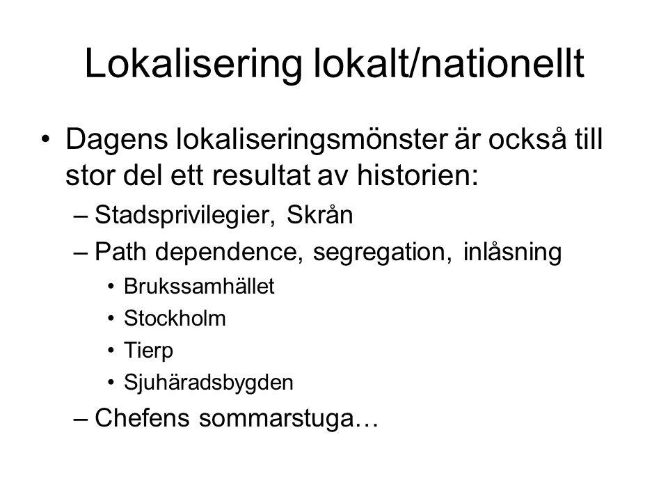 Lokalisering lokalt/nationellt Dagens lokaliseringsmönster är också till stor del ett resultat av historien: –Stadsprivilegier, Skrån –Path dependence