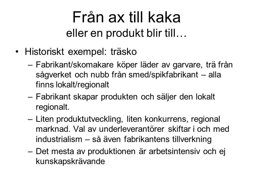 Från ax till kaka eller en produkt blir till… Historiskt exempel: träsko –Fabrikant/skomakare köper läder av garvare, trä från sågverket och nubb från