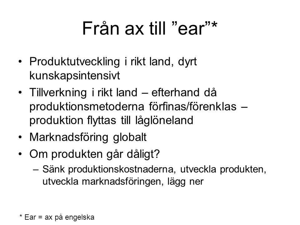 """Från ax till """"ear""""* Produktutveckling i rikt land, dyrt kunskapsintensivt Tillverkning i rikt land – efterhand då produktionsmetoderna förfinas/förenk"""