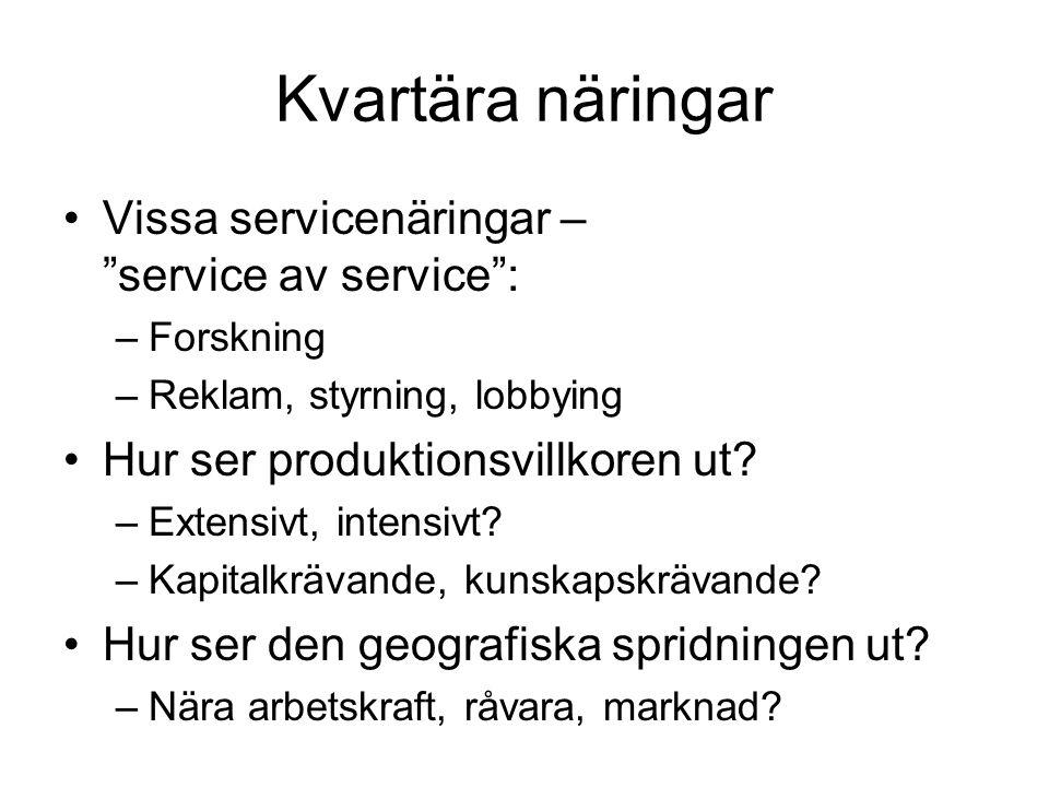 """Kvartära näringar Vissa servicenäringar – """"service av service"""": –Forskning –Reklam, styrning, lobbying Hur ser produktionsvillkoren ut? –Extensivt, in"""