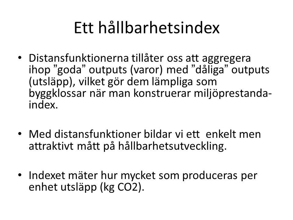 Ett hållbarhetsindex Distansfunktionerna tillåter oss att aggregera ihop goda outputs (varor) med dåliga outputs (utsläpp), vilket gör dem lämpliga som byggklossar när man konstruerar miljöprestanda- index.