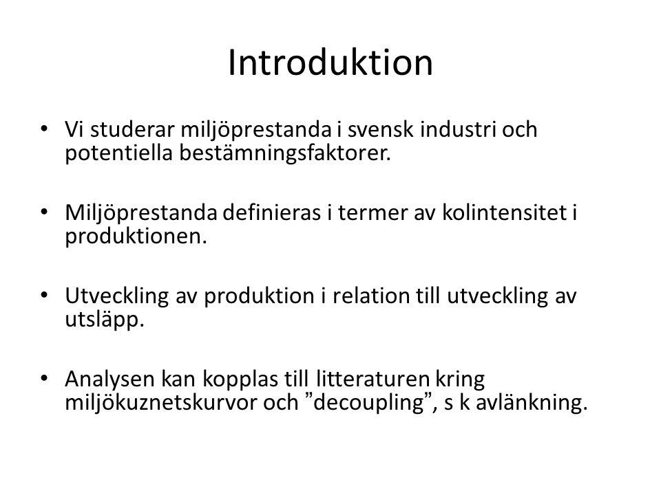 Introduktion Vi studerar miljöprestanda i svensk industri och potentiella bestämningsfaktorer.