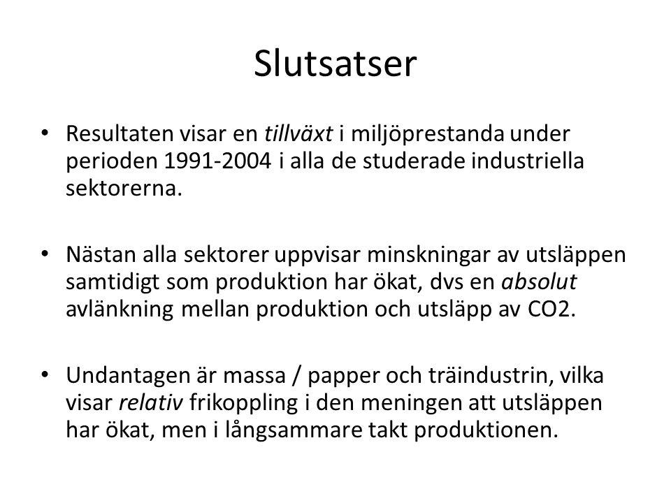 Slutsatser Resultaten visar en tillväxt i miljöprestanda under perioden 1991-2004 i alla de studerade industriella sektorerna.
