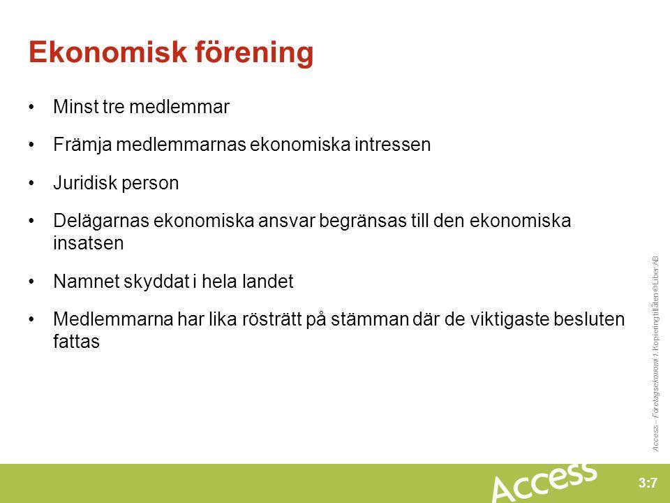 3:8 Access – Företagsekonomi 1.Kopiering tillåten © Liber AB Välja företagsform A.