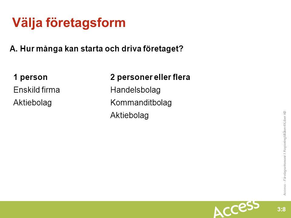 3:8 Access – Företagsekonomi 1. Kopiering tillåten © Liber AB Välja företagsform A.