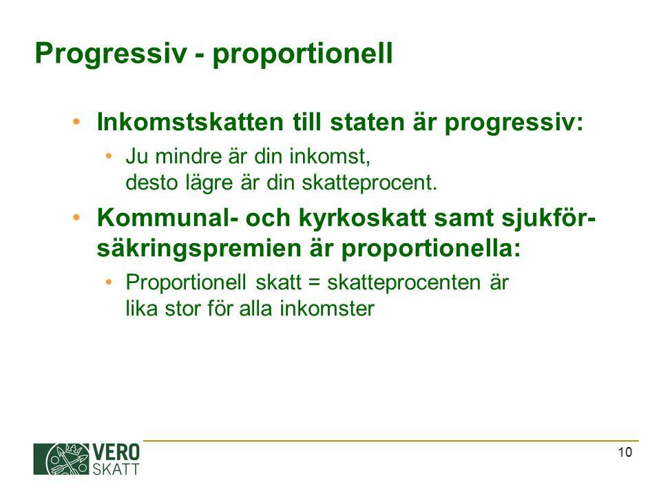 10 Progressiv - proportionell Inkomstskatten till staten är progressiv: Ju mindre är din inkomst, desto lägre är din skatteprocent. Kommunal- och kyrk