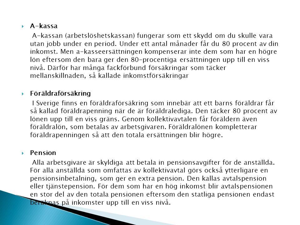  A-kassa A-kassan (arbetslöshetskassan) fungerar som ett skydd om du skulle vara utan jobb under en period.