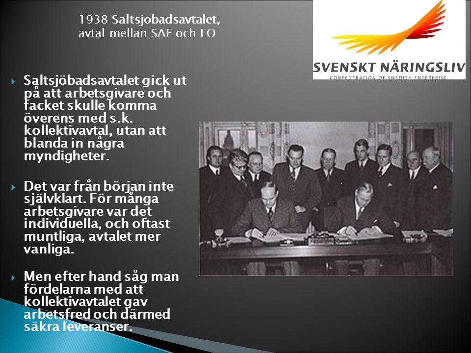  Saltsjöbadsavtalet gick ut på att arbetsgivare och facket skulle komma överens med s.k.