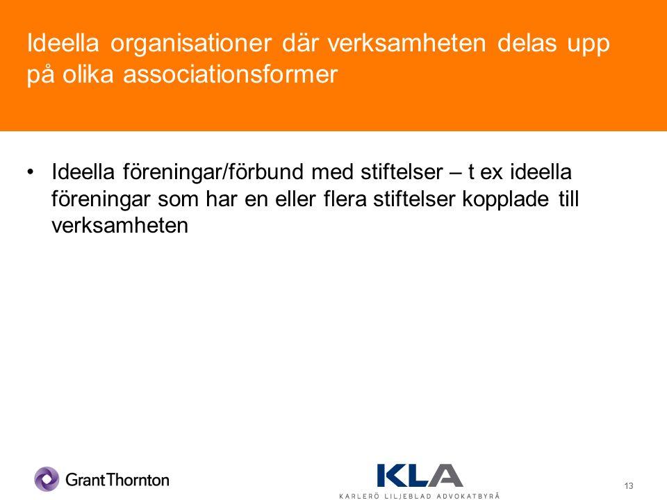 13 Ideella organisationer där verksamheten delas upp på olika associationsformer Ideella föreningar/förbund med stiftelser – t ex ideella föreningar som har en eller flera stiftelser kopplade till verksamheten